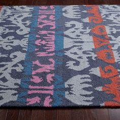 nuLOOM Hand-hooked Ikat Wool Grey Rug (7'6 x 9'6)