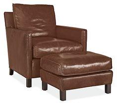 Captivating Bram Leather Chair U0026 Ottoman. Modern Living Room ...