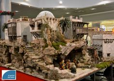 Christmas Village Display, Christmas Nativity Scene, Christmas Villages, Christmas Cave, Christmas Crib Ideas, Journey To Bethlehem, Compound Wall Design, Free To Use Images, Paper Houses