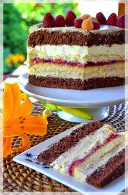 Kitchen Notes M.: Coffee cake with cherry frużeliną. Polish Desserts, Polish Recipes, No Bake Desserts, Just Desserts, Dessert Recipes, Pastry Recipes, Cookie Recipes, Chocolate Ganache Tart, Brownie Cake
