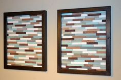 Wood Wall Art Sculpture - Skinny Rectangles - 18 x 22 - SET - Spa Inspired Colors $495.00/set - Etsy