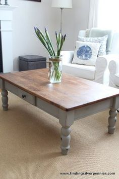 French Linen Coffee Table - Finding Silver Pennies