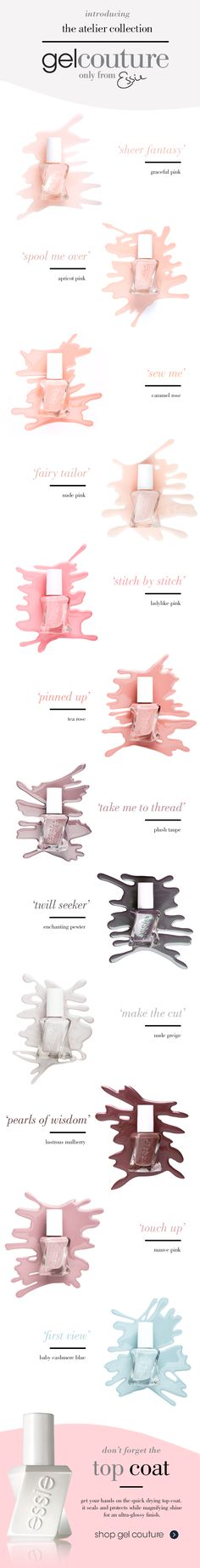 Make a powerful statement in whisper soft essie neutrals. Inspired by the atelier's go-to palette of tulle, fishnet and lace. These long-wear nail polish shades seamlessly fuse delicacy with quiet strength. From lustrous pearls and sheer veils to creamy silks, there's a shade of luxe for every heart's desire.