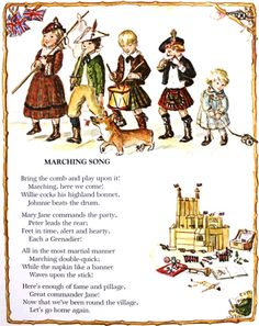 "Illustration by Tasha Tudor of the poem ""Marching Song"" by Robert Louis Stevenson for Tasha's book ""A Child's Garden Of Verses"""