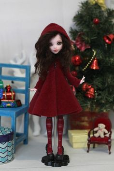 Coat and striped stockings for Monster High / EAH doll 1/6 size