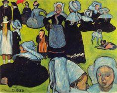 Émile Bernard 1888-08 - Breton Women in the Meadow (Le Pardon de Pont-Aven) - Mujeres bretonas en un perdón - Wikipedia, la enciclopedia libre