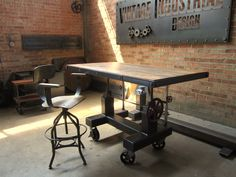 Crank Table, tilting cherry top, and our Wright chair