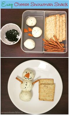 Mini Snowman Cheese Ball Snack #Christmas www.momsandmunchkins.ca