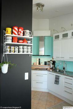 diy,keittiö,keittiön välitila,mintunvihreä,retrotyyli