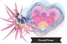 Endearing heart stone hand painted by Miranda Pitrone on Etsy