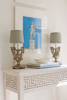 greek key home decor for hallway-stairwell wall (gray on white)