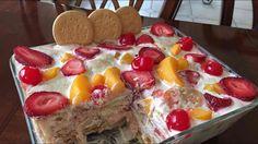 Postre de galletas marias con frutas delicioso y fácil de preparar - YouTube