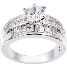 Simon Frank Beautiful Light Collection Cubic Zirconia Ring (Silvertone CZ Engagment Ring Size 8), Women's, Silver