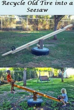 See saw from recycled tire and some 2x4's