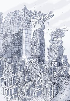 temple of the ancients  final fantasy 7 , brainstorm challenge, David Cameron Sloan on ArtStation at https://www.artstation.com/artwork/temple-of-the-ancients-final-fantasy-7-brainstorm-challenge