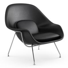 Eero Saarinen designed the Womb Chair at Florence Knoll's request. The groundbreaking design provides a comforting sense of security - hence the name. Saarinen Chair, Knoll Chairs, Eero Saarinen, Swing Chairs, Sun Chair, Womb Chair, Office Waiting Room Chairs, Floor Protectors For Chairs, Comfortable Office Chair