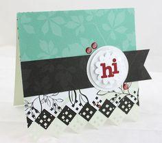"""Hi"" Enchanted Zig-Zag Diamond Card Project Idea from Creative Memories - using Limited Edition Zig-Zag Border Maker Cartridge - available through December 2012."