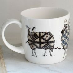 Anna Wright The Knitting Circle shaped fine bone china mug Anna Wright, China Mugs, Circle Shape, Mixed Media Collage, Bone China, Textiles, Shapes, Knitting, Tricot