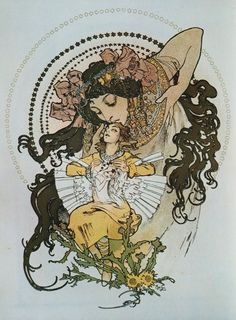 """sealmaiden: Alphonse Mucha Illustration for the cover page of the book """"Ilse, Princess of Tripoli"""" Paris 1897 via eritissimilesdeo / Embodied <3"""