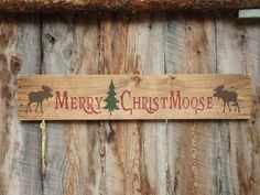 Rustic Home Decor Merry Christmoose Sign Moose by BearlyInMontana
