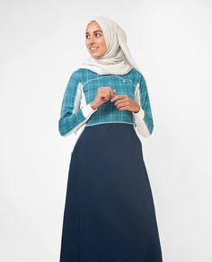 61e3c59a937 Blue Checked Effortless Tennis Inspired Print Abaya Jilbab S 54 Navy Shirt  Skirt