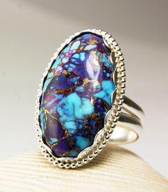 Sterling Silver Purple Turquoise Ring by TazziesCustomJewelry, $140.00