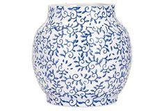"""9"""" Beaufort Vase, Blue/White"""
