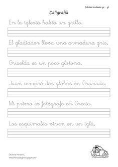 Conlección de fichas de caligrafía trabadas mixtas y directas -Orientacion Andujar