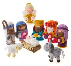 An amigurumi crochet nativity scene. All the key players are here, including an absolutely adorable baby Jesus.