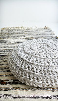 Floor Cushion Crochet Thick Cotton Mix Cotton por lacasadecoto
