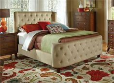 Fullerton Tan Velvet Microfiber Tufted Bed