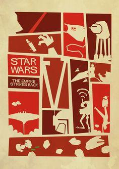 Star Wars: The Empire Strikes Back (Saul Bass Inspired Star Wars Trilogy Posters) | By: Sindorman, via GeekTyrant (#starwars #theempirestrikesback #starwarsfanart)