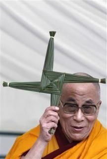 """Andrea Hess  There is something pretty rad about the Dalai Lama holding up Brigid's cross and flame in Kildare, Ireland.     """"In his first visit to Ireland in 20 years the Dalai Lama spoke to a large crowd in Dublin before visiting Kildare town where he was greeted by school children and presented with a St Brigid's Cross and a St Brigid's Flame     http://www.brigidine.org.au/news/view_article.cfm?id=26=4"""