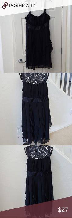 """Black Cocktail Party Dress 16w Little black dress with straps and zipper closure. 100% Polyester, hand wash. Total length 42"""", in beautiful worn once condition. R&M Richards Dresses"""