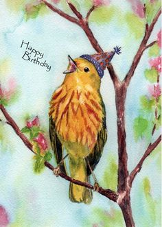 Yellow Bird in Tree with Birthday Hat. Watercolor Birthday Greeting Card by StellaJaneCards. by StellaJaneCards on Etsy Happy Birthday Birds, Happy Birthday Wishes Cards, Birthday Wishes And Images, Happy Birthday Video, Happy Birthday Pictures, Vintage Birthday Cards, Birthday Greeting Cards, Birthday Gifs, Birthday Banners