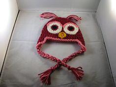 Crochet Korner Crochet Valentines Day Owl Hat ALL by CrochetKorner, $20.00