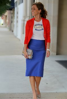 t-shirt with pencil skirt and cardigan- I have all this in my closet. Would never have thought to piece this together!