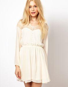 White Long Sleeve Contrast Lace Ruffle Dress 0.00