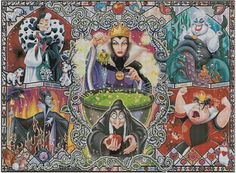 Counted Cross Stitch Pattern, Disney, villains, maleficent, queen of hearts, Instant Download, PDF Pattern