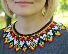 Beaded jewelry for every day por StrawberryShopGifts en Etsy Beaded Collar, Beaded Choker, Beaded Jewelry, Jewellery, Diy Necklace Patterns, Seed Bead Patterns, Aztec Necklaces, Tribal Necklace, Collar Necklace