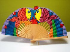 AMOR SUBMARINO Diy And Crafts, Arts And Crafts, Art N Craft, Hand Fan, Oriental, Projects To Try, Illustration Art, Handmade, Lettering