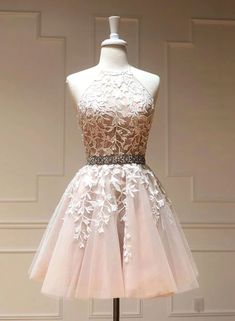 Pink tulle lace short prom dress, lace homecoming dress · inshop · Online Store Powered by Storenvy Dama Dresses, Grad Dresses, Party Dresses, Short Dresses, Formal Dresses, Prom Dress, Quinceanera Dresses Short, Quince Dresses, Pageant Dresses