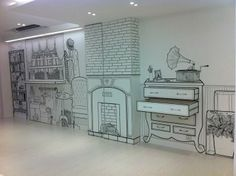 Cafe Interior, Interior And Exterior, Mural Art, Wall Murals, White Cafe, Chalk Wall, Interior Decorating, Interior Design, Stage Design
