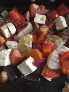 Ofengemüse mit Feta und Minzjoghurt - ein einfaches sommerliches Rezept