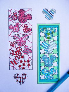 Mickey Mouse Bookmarks to Color  Zentangle