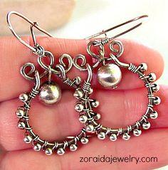 Sterling Bead Wire Wrapped Earrings