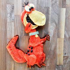 Yabba Dabba Doo! Watermelon & pancake Dino from the Flintstones by Shannon Mazzei (@foodartfun)