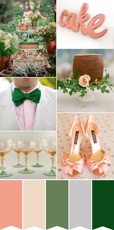 Peach and Green Wedding Inpsiration. Read More - http://onefabday.com/peach-and-green-wedding-inspiration/