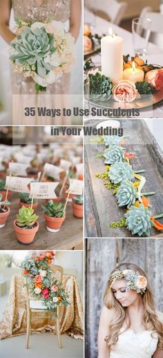 Wedding Table Decorations With Succulents Sunflowers - 35 succulent wedding ideas for your big day Wedding Table, Diy Wedding, Rustic Wedding, Dream Wedding, Wedding Day, Wedding Reception, Wedding Gold, Craft Wedding, Wedding Gifts