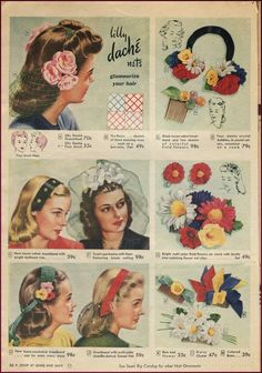 Hair flowers and accessories, Sears Midsummer Catalog 1944. #vintage #1940s #accessories #hats